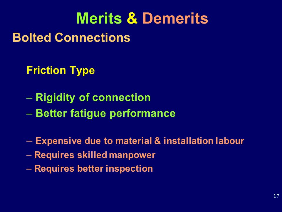 Merits & Demerits Bolted Connections Friction Type