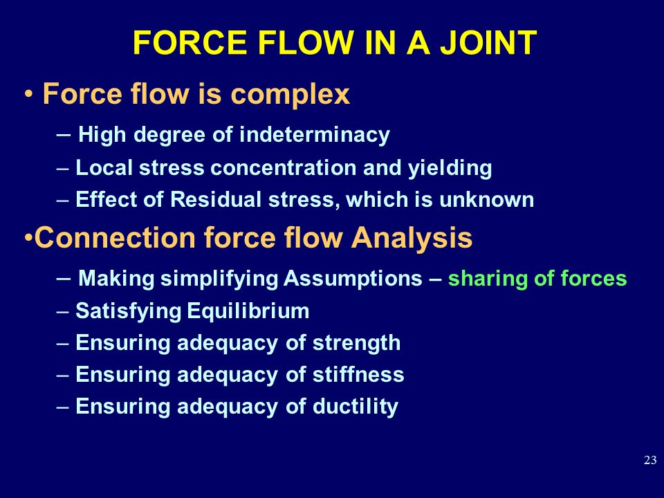 FORCE FLOW IN A JOINT Force flow is complex