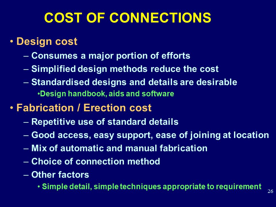 COST OF CONNECTIONS Design cost Fabrication / Erection cost
