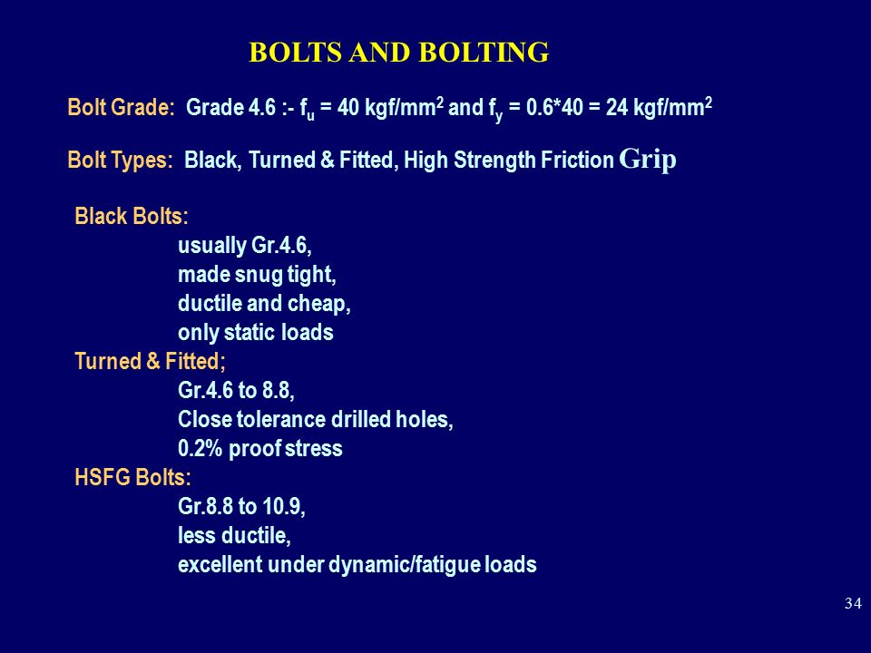 BOLTS AND BOLTING Bolt Grade: Grade 4.6 :- fu = 40 kgf/mm2 and fy = 0.6*40 = 24 kgf/mm2.