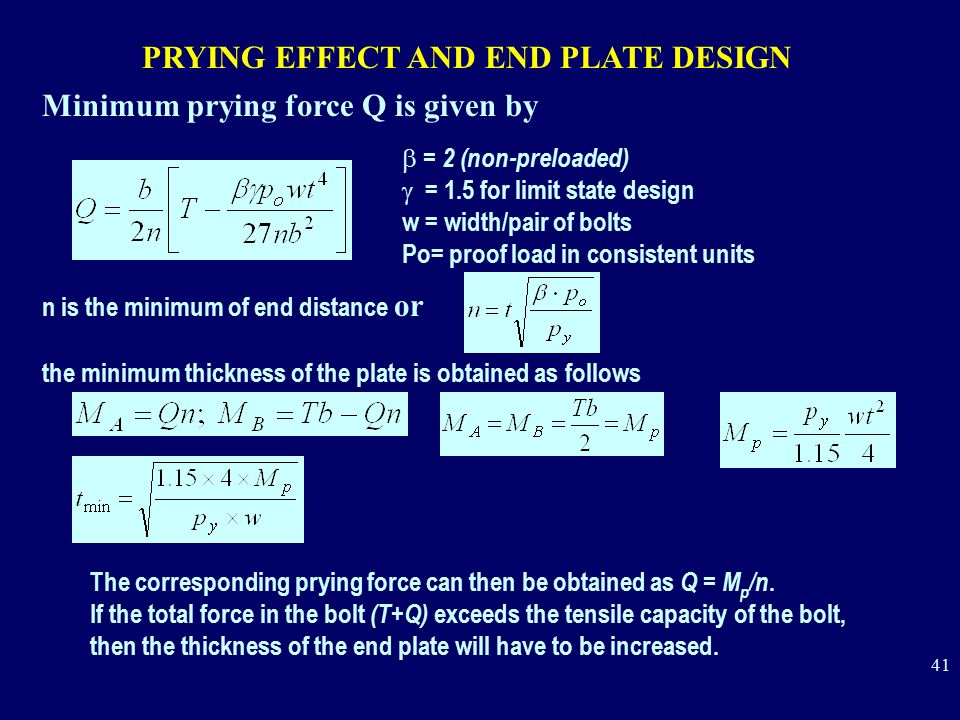 PRYING EFFECT AND END PLATE DESIGN