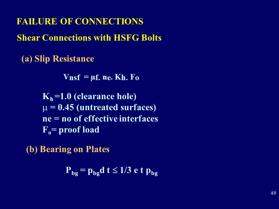 Vnsf = µf. ne. Kh. Fo FAILURE OF CONNECTIONS