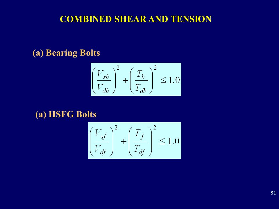 COMBINED SHEAR AND TENSION