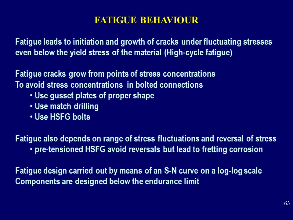 FATIGUE BEHAVIOUR Fatigue leads to initiation and growth of cracks under fluctuating stresses.