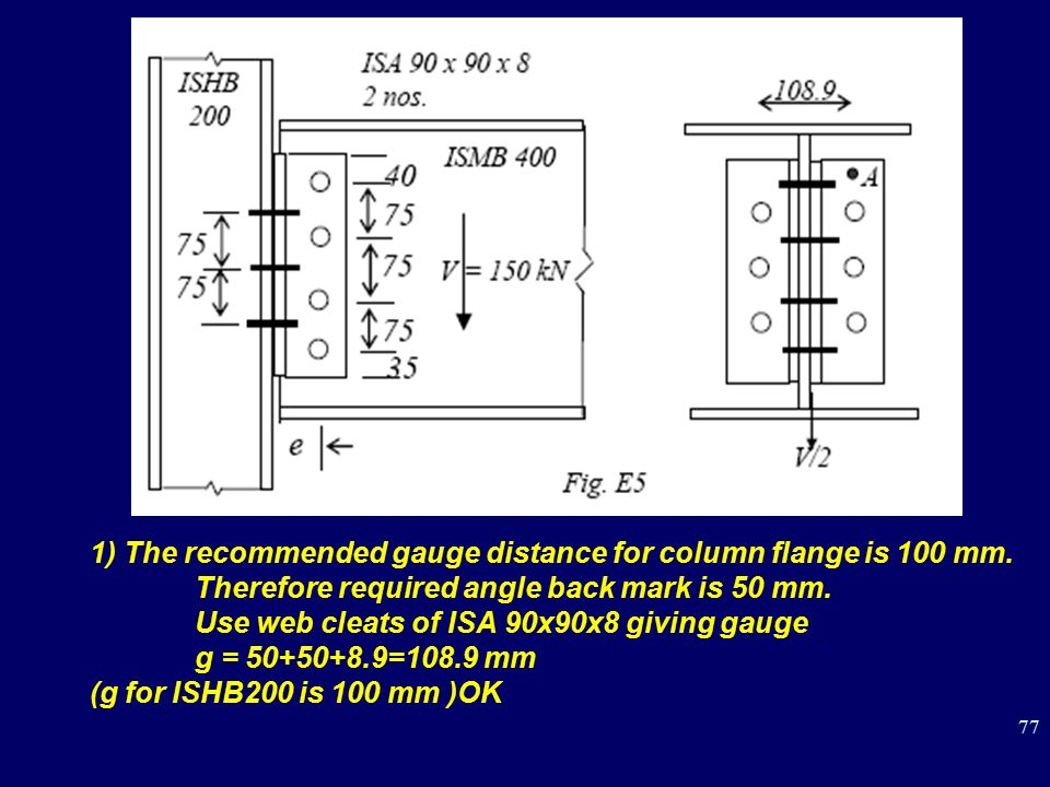 1) The recommended gauge distance for column flange is 100 mm