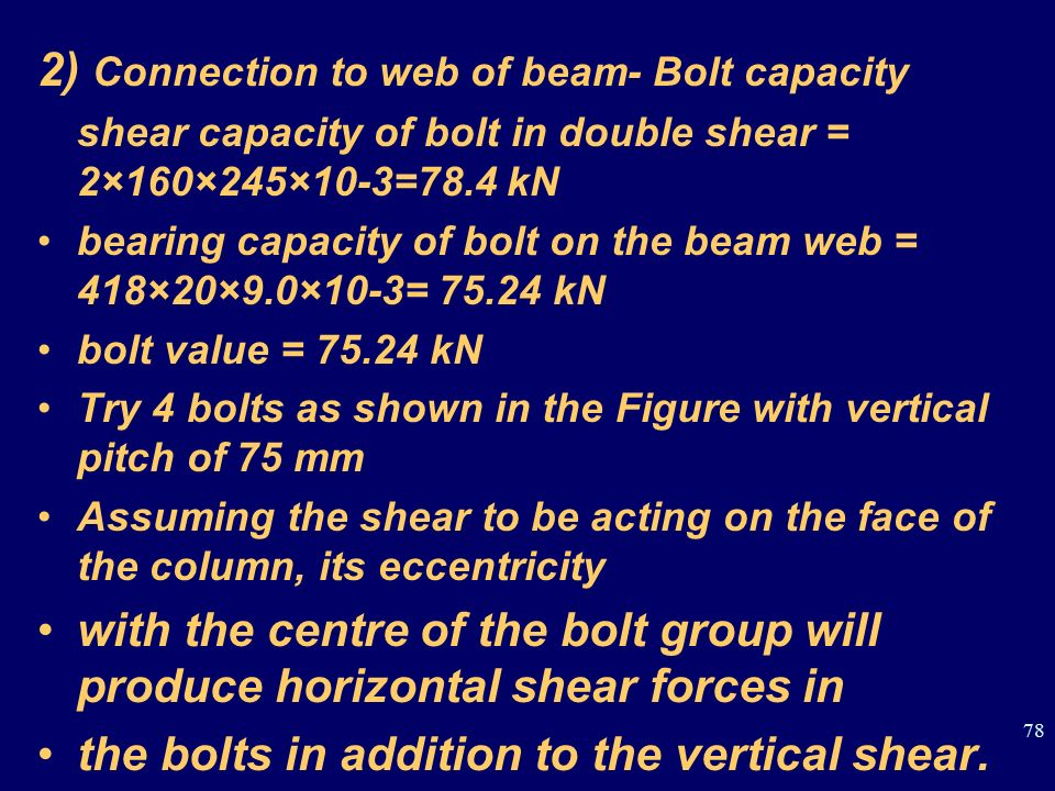 2) Connection to web of beam- Bolt capacity