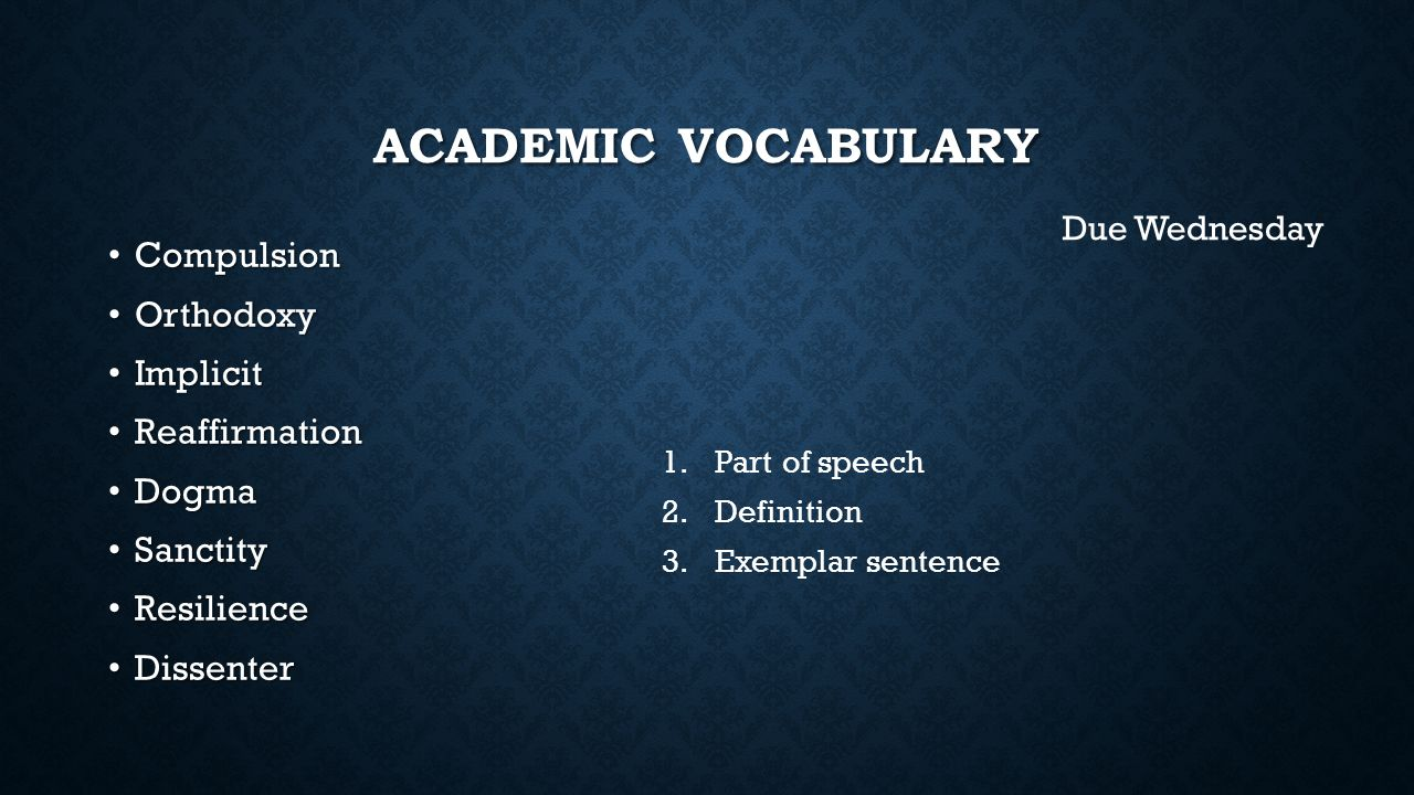 Academic Vocabulary Compulsion Orthodoxy Implicit Reaffirmation Dogma