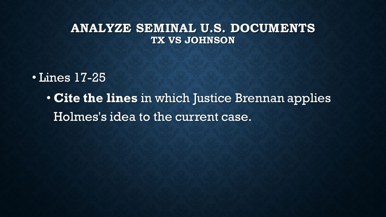 Analyze seminal u.s. documents TX vs Johnson