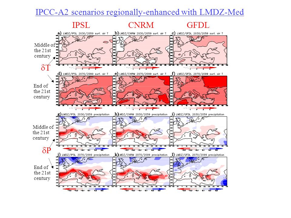 IPCC-A2 scenarios regionally-enhanced with LMDZ-Med IPSL CNRM GFDL