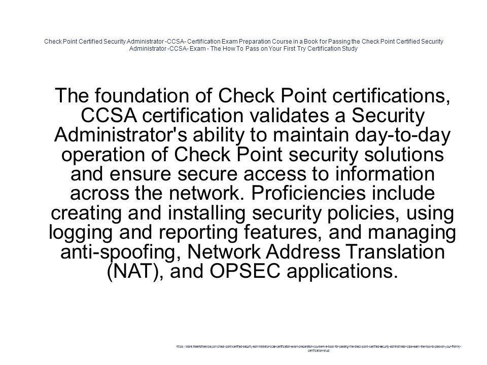 Check Point Certified Security Administrator -CCSA- Certification ...