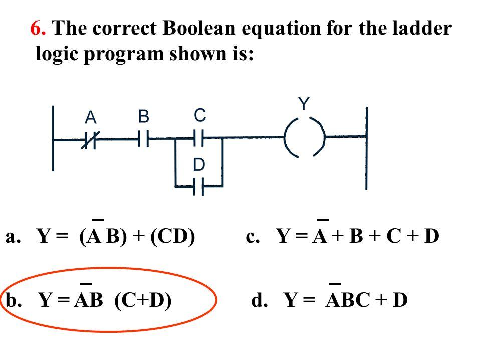 Ladder logic diagram boolean equation illustration of wiring diagram programmable logic controller ppt download rh slideplayer com boolean logic rules boolean logic gates ccuart Images