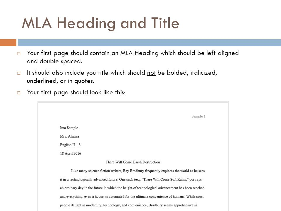 mla first page format