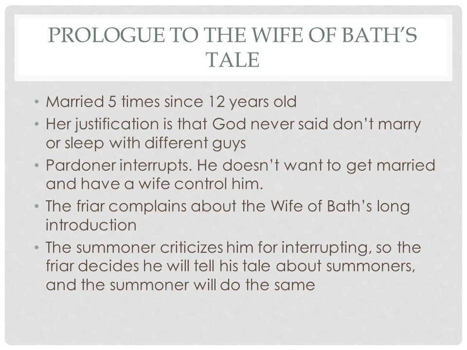 a plot overview of the wife of baths prologue Summary the wife of bath's prologue, prof kelli mcbride, seminole state college:  the audience in a life story the wife is exactly what the medieval church saw as a ―wicked woman,‖ and she is proud of it—from the very beginning, her speech has.