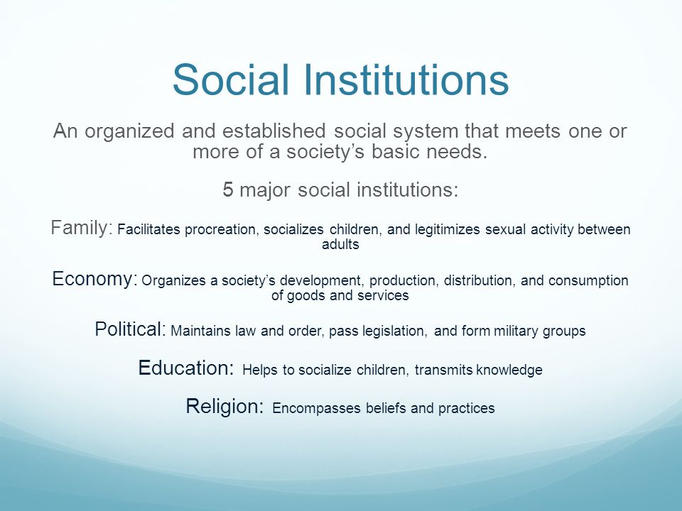 Social Institutions An organized and established social system that meets one or more of a society's basic needs.