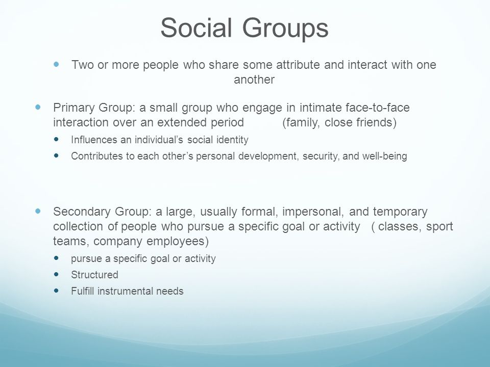 Social Groups Two or more people who share some attribute and interact with one another.