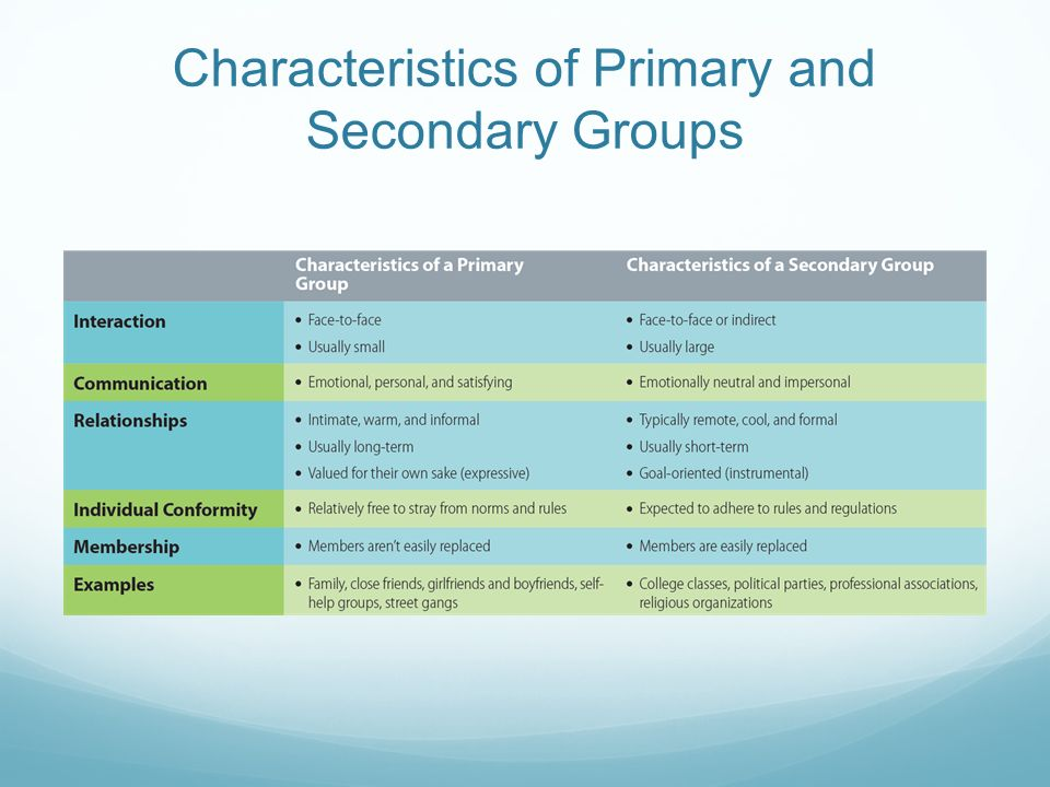 Characteristics of Primary and Secondary Groups