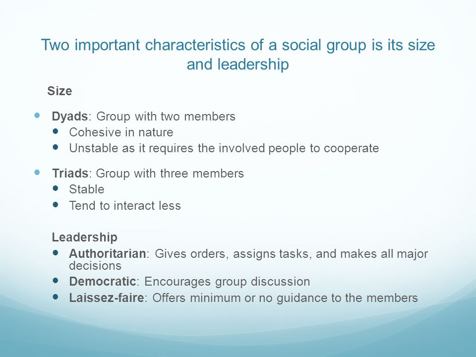 Two important characteristics of a social group is its size and leadership