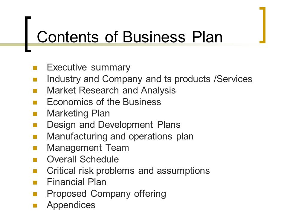 Business plan format and contents ppt video online download contents of business plan accmission