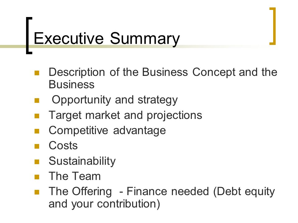 outline the contents of a business plan