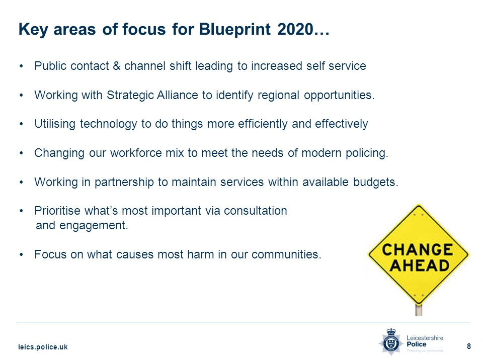 Blueprint 2020 the leicestershire police transformation model key areas of focus for blueprint 2020 malvernweather Image collections