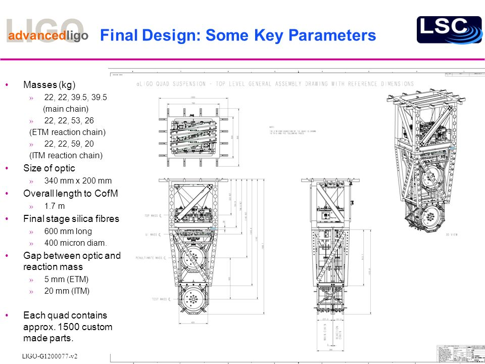 Final Design: Some Key Parameters