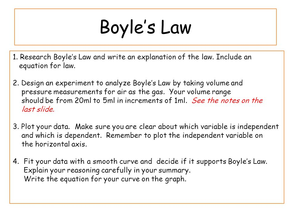 boyle's law and the empty space Empty space and therefore compressible boyle's first major scientific report, the spring and weight of the air , was published in 1660 and described experiments using a new.