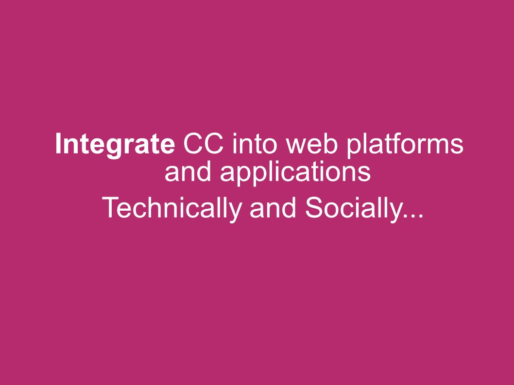 Integrate CC into web platforms and applications