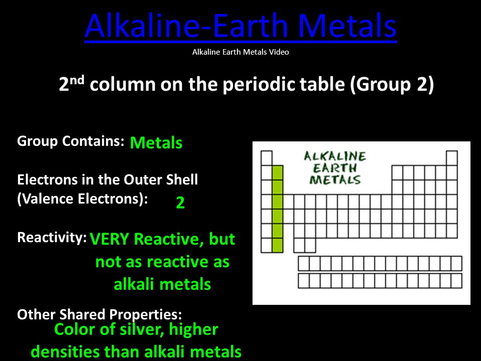 Periodic table families ppt video online download alkaline earth metals alkaline earth metals video urtaz Choice Image