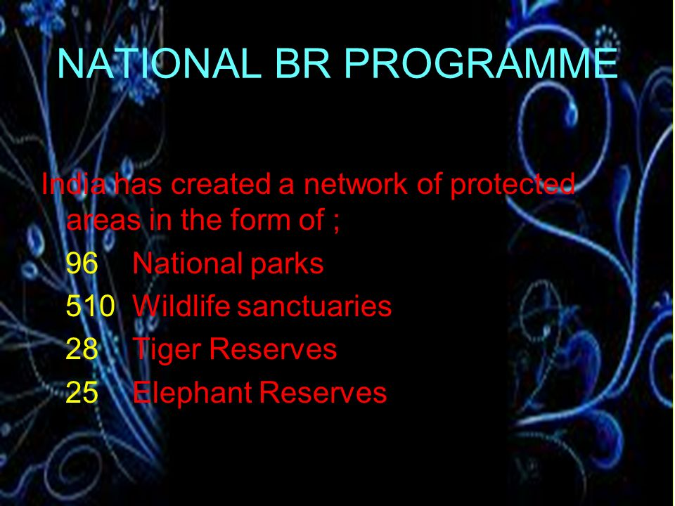 NATIONAL BR PROGRAMME India has created a network of protected areas in the form of ; 96 National parks.