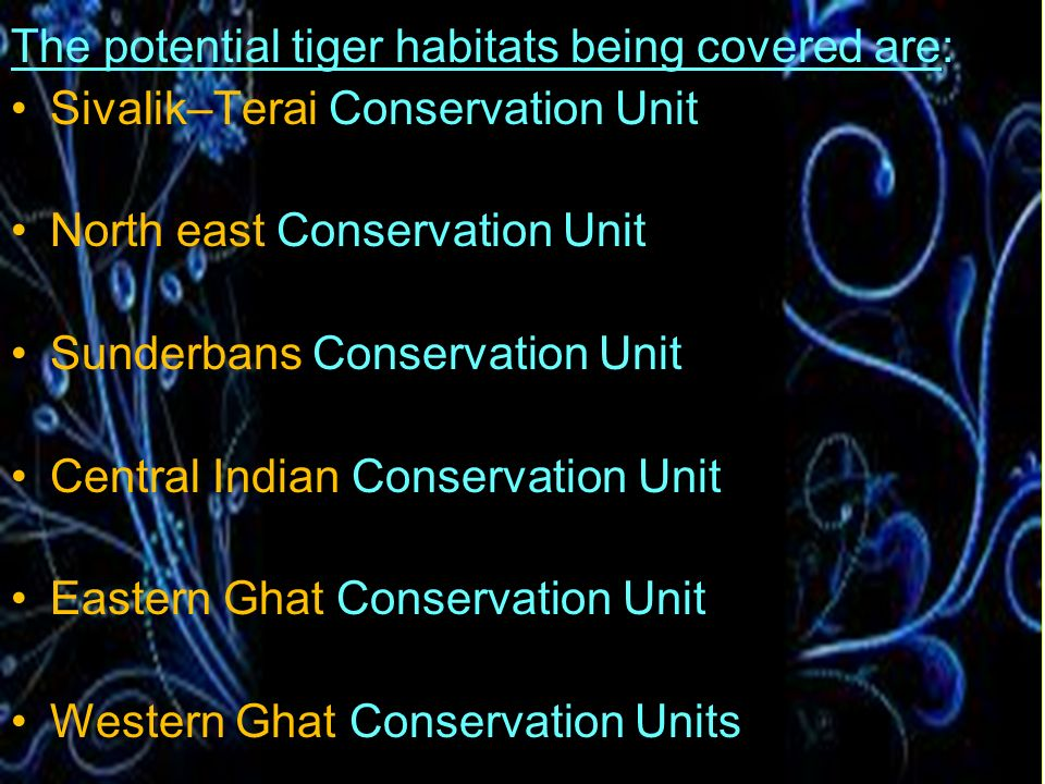 The potential tiger habitats being covered are:
