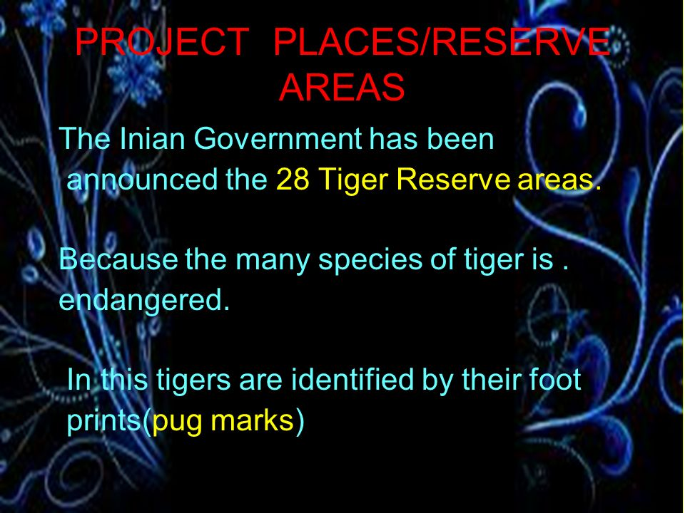 PROJECT PLACES/RESERVE AREAS