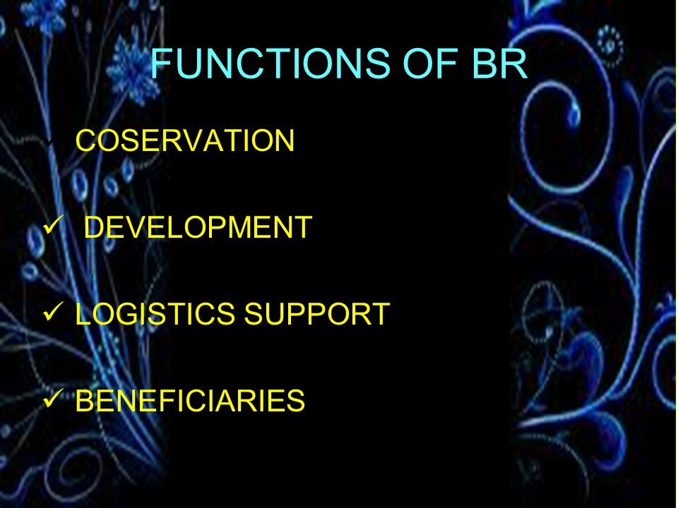 FUNCTIONS OF BR COSERVATION DEVELOPMENT LOGISTICS SUPPORT