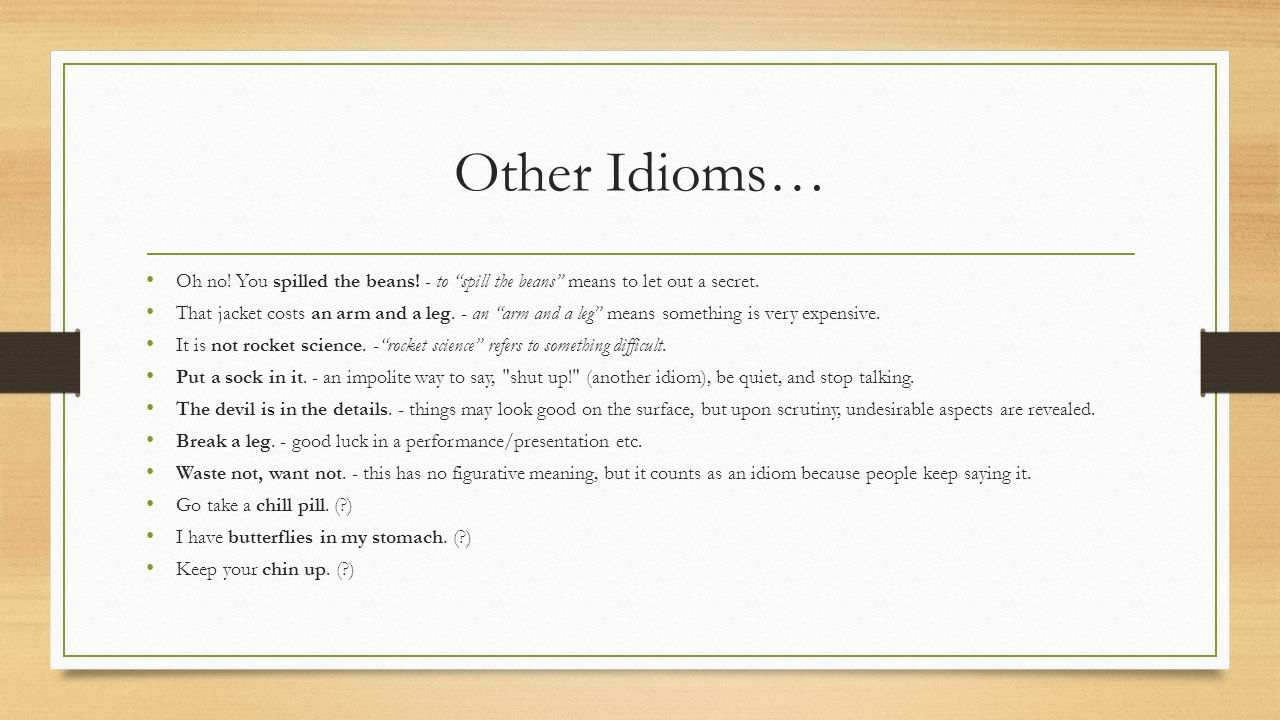An Arm And A Leg Idiom Meaning In Urdu Allegories Symbolism Fables And Idioms Ppt Download