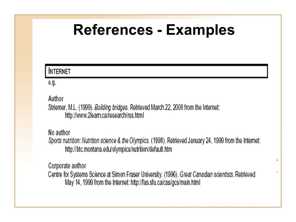 research references examples