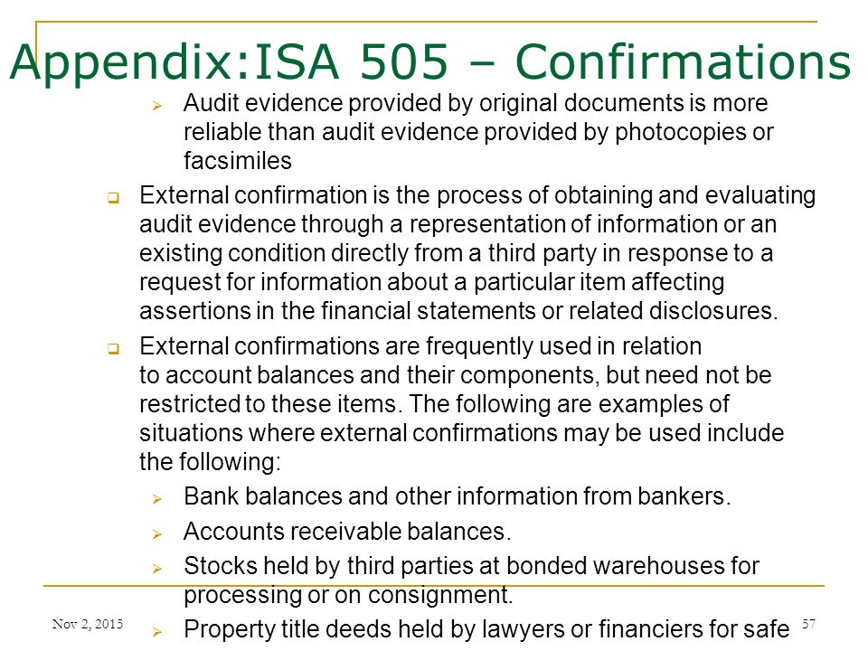 57 appendixisa 505 confirmations audit evidence