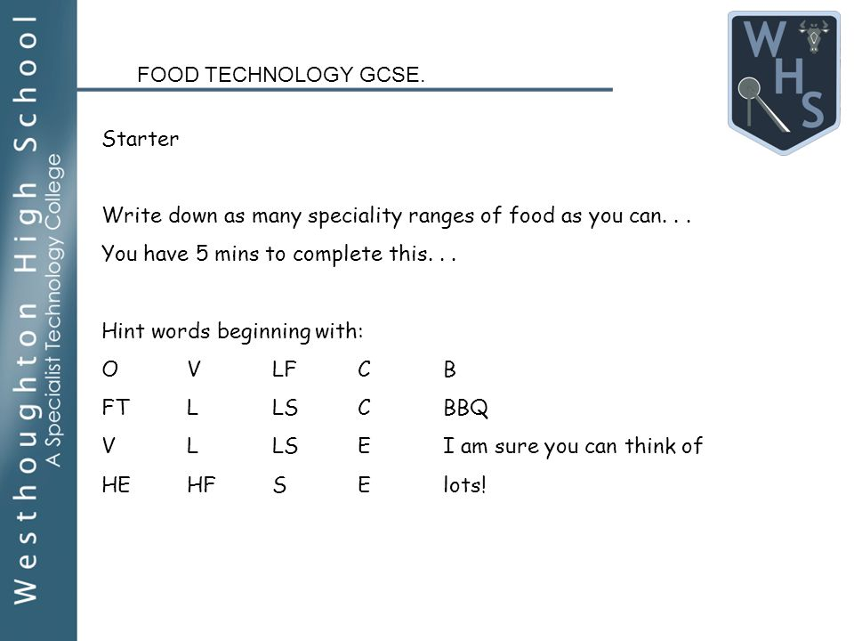 Food technology gcse year 10 design brief for speciality foods 5 food technology gcse forumfinder Gallery