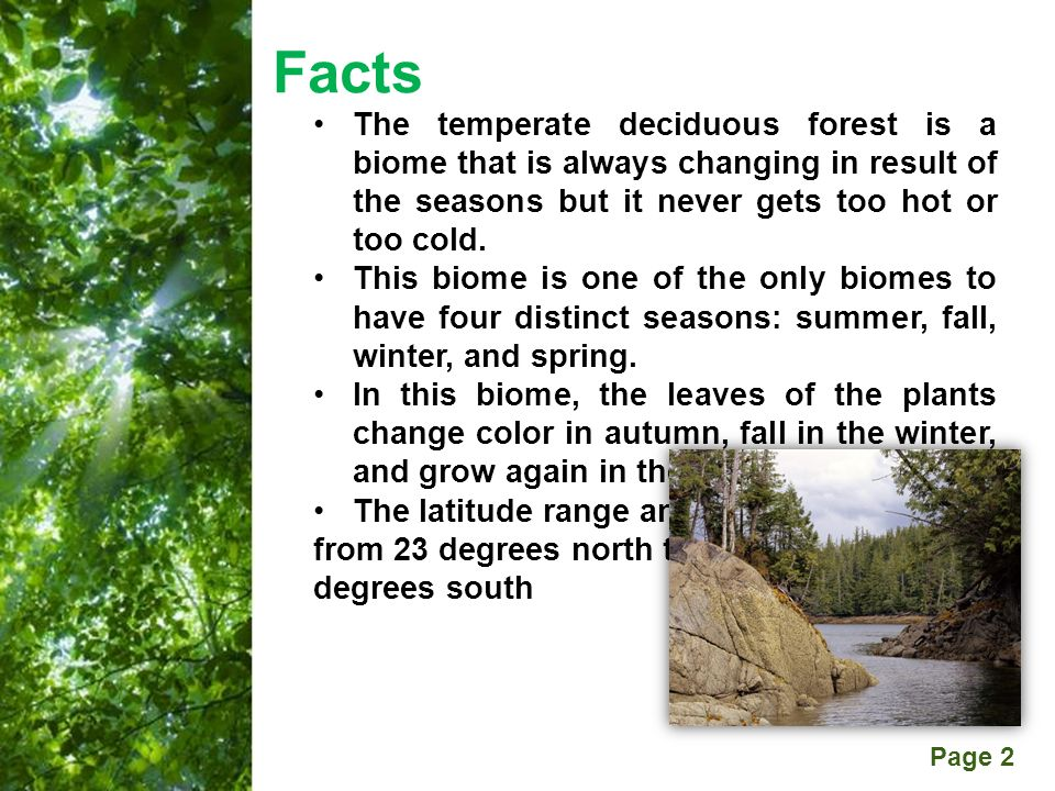 temperate deciduous biome paper Choose one biome/ecosystem from the table above and research a particular location in that biome 2 using 3 (or more) informational resources, create a project that includes all of the information listed on the research sheet.