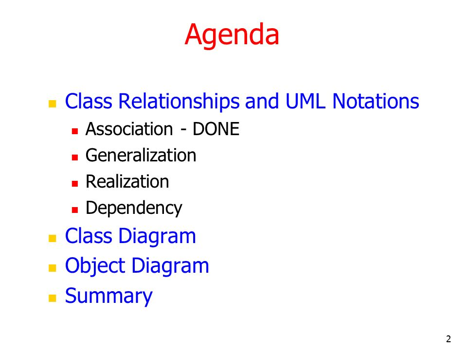 Uml and classes objects and relationships 2 ppt video online agenda class relationships and uml notations class diagram ccuart Choice Image