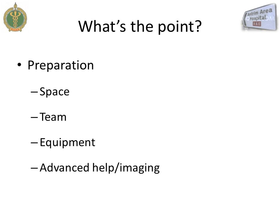 What's the point Preparation Space Team Equipment