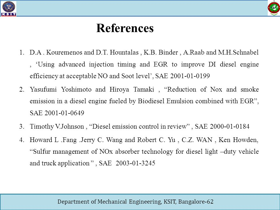 Final Project Seminar AN INVESTIGATION OF DIESEL ENGINE PERFORMANCE