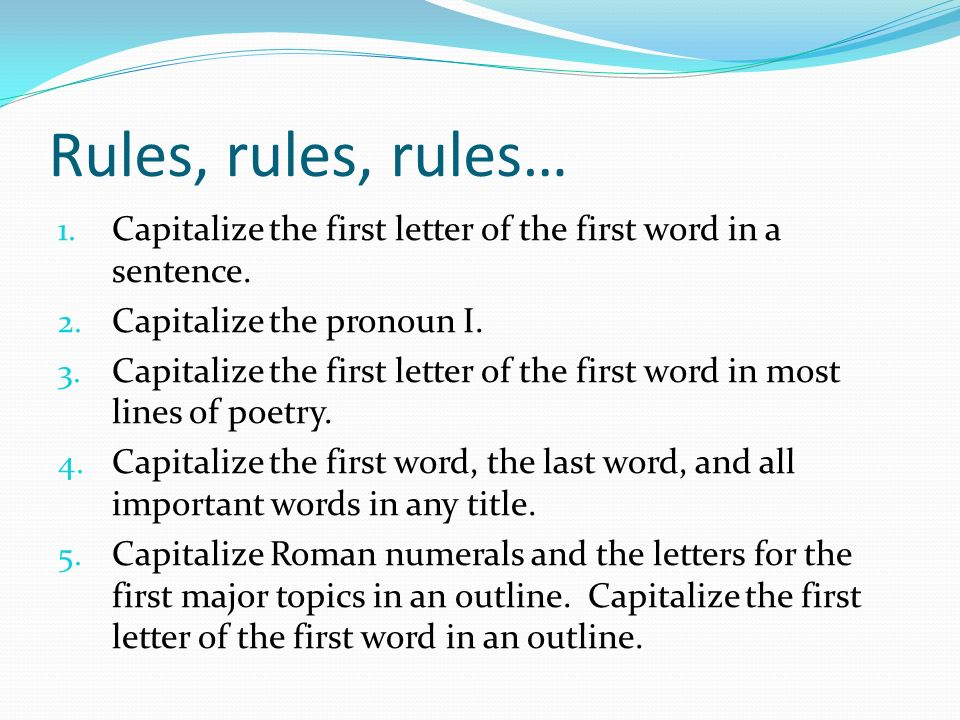 capitalize the first letter of the first word in a