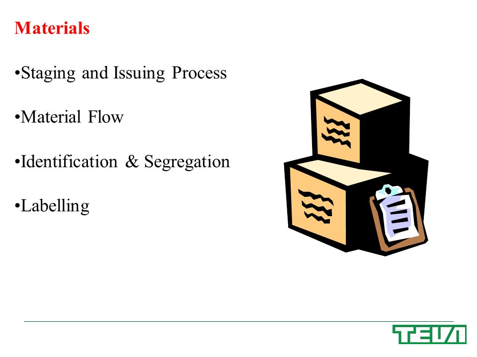 Materials Staging and Issuing Process Material Flow Identification & Segregation Labelling