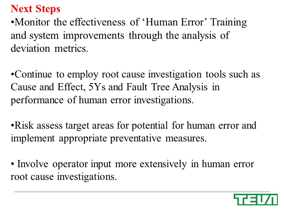 Next Steps Monitor the effectiveness of 'Human Error' Training and system improvements through the analysis of deviation metrics.