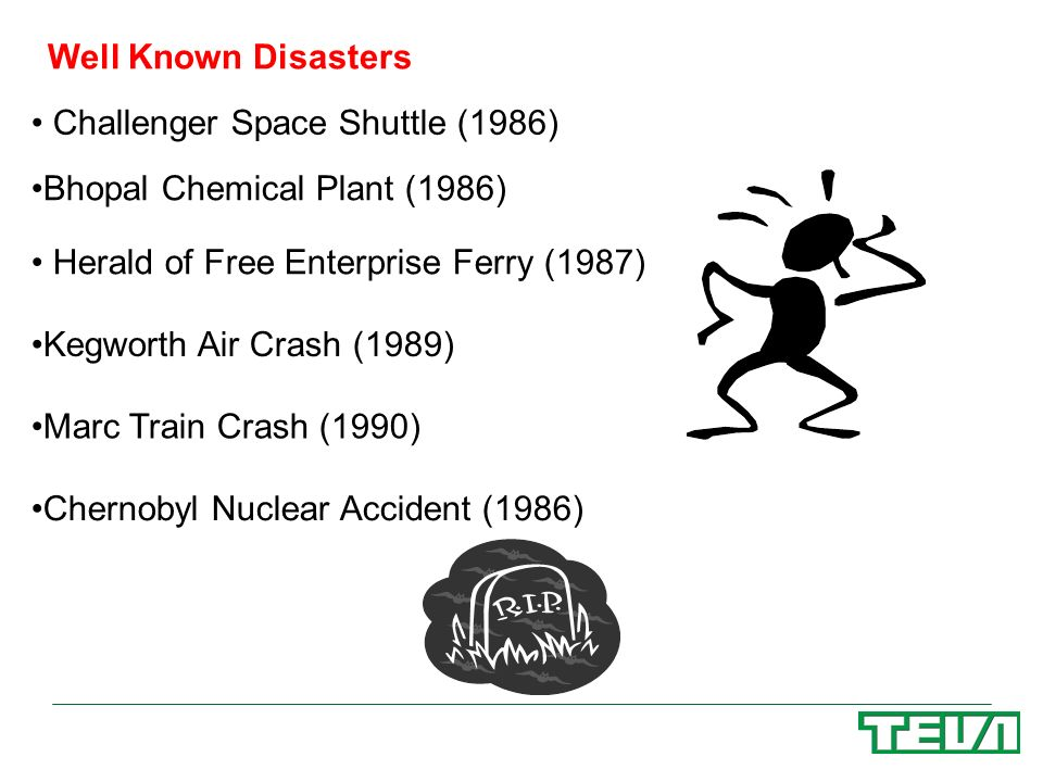 Well Known Disasters Challenger Space Shuttle (1986) Bhopal Chemical Plant (1986) Herald of Free Enterprise Ferry (1987)