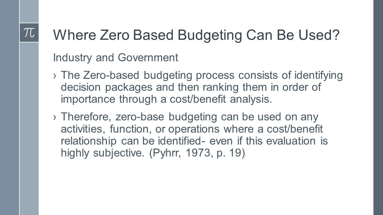 the zero based budgeting accounting essay Like performance or programme budgeting, zero base budgeting is also rational budgeting like management by objectives (mbo) it is a transplant from the private sector which has so far been, confined to the united states.