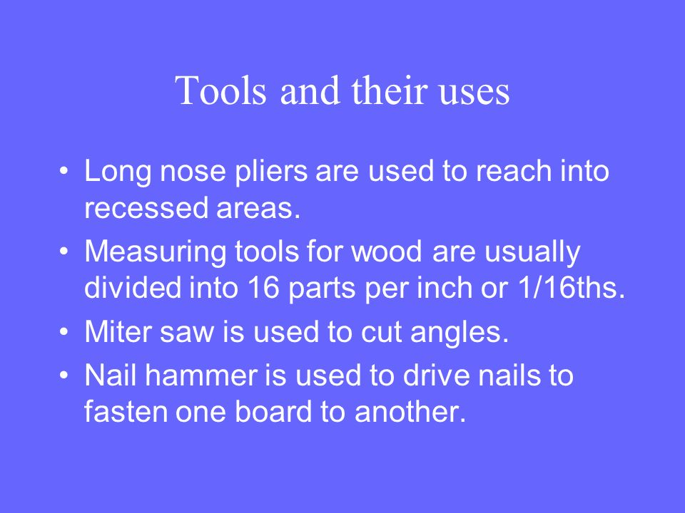 Use Of Hand Tools In Agricultural Mechanics Shops