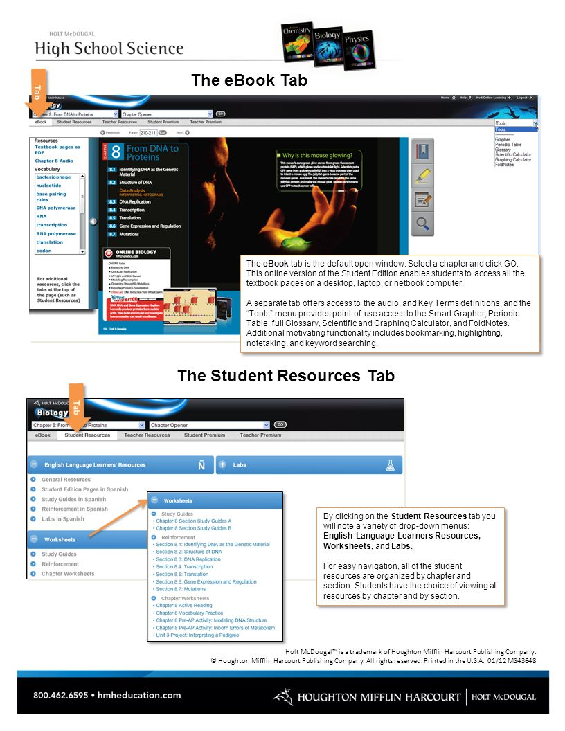 Hmdscience 2012 online tutorial ppt video online download 5 the student resources tab fandeluxe Gallery
