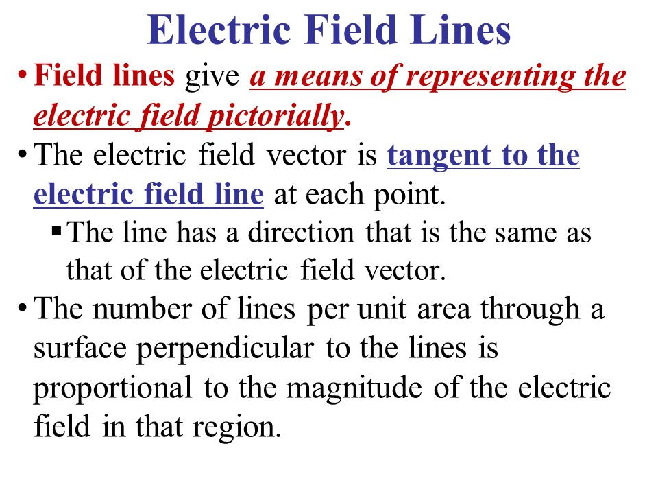 Electric Field Lines Field lines give a means of representing the