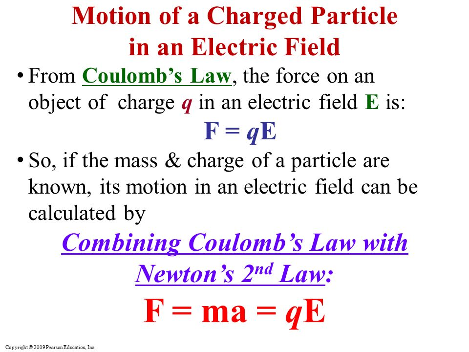 F = ma = qE Motion of a Charged Particle in an Electric Field F = qE