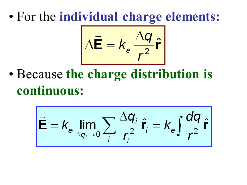 For the individual charge elements: